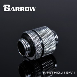 "Barrow G1/4"" 15mm Male to Male Extension Fitting with Micro Adjustment - Silver (THDJ15-V1-Silver)"