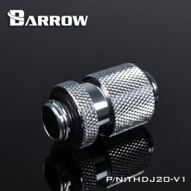 "Barrow G1/4"" 20mm Male to Male Extension Fitting with Micro Adjustment - Silver (THDJ20-V1-Silver)"