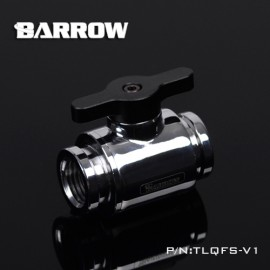 "Barrow G1/4"" Mini Ball Valve Fitting ""Metal Handle Version"" - Silver/Black - BULK"