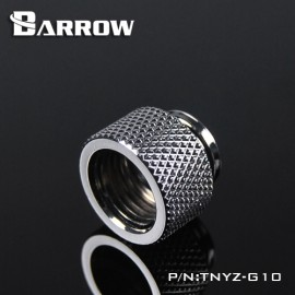 """Barrow G1/4"""" 10mm Male to Female Extension Fitting - Silver (TNYZ-G10-Silver)"""