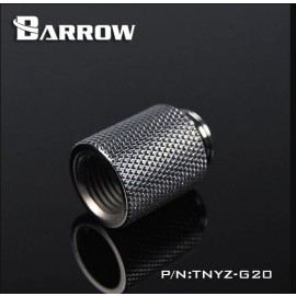 "Barrow G1/4"" 20mm Male to Female Extension Fitting - Silver (TNYZ-G20-Silver)"