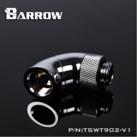 """Barrow G1/4"""" 90 Degree Male to Female Dual Rotary Snake Adaptor - Silver (TSWT902-V1-Silver)"""